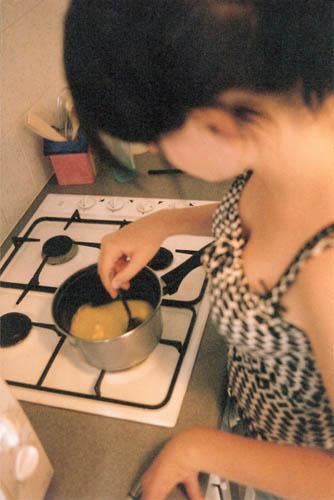 Melt stuff in the pot.