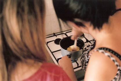 Stir it in the pot.
